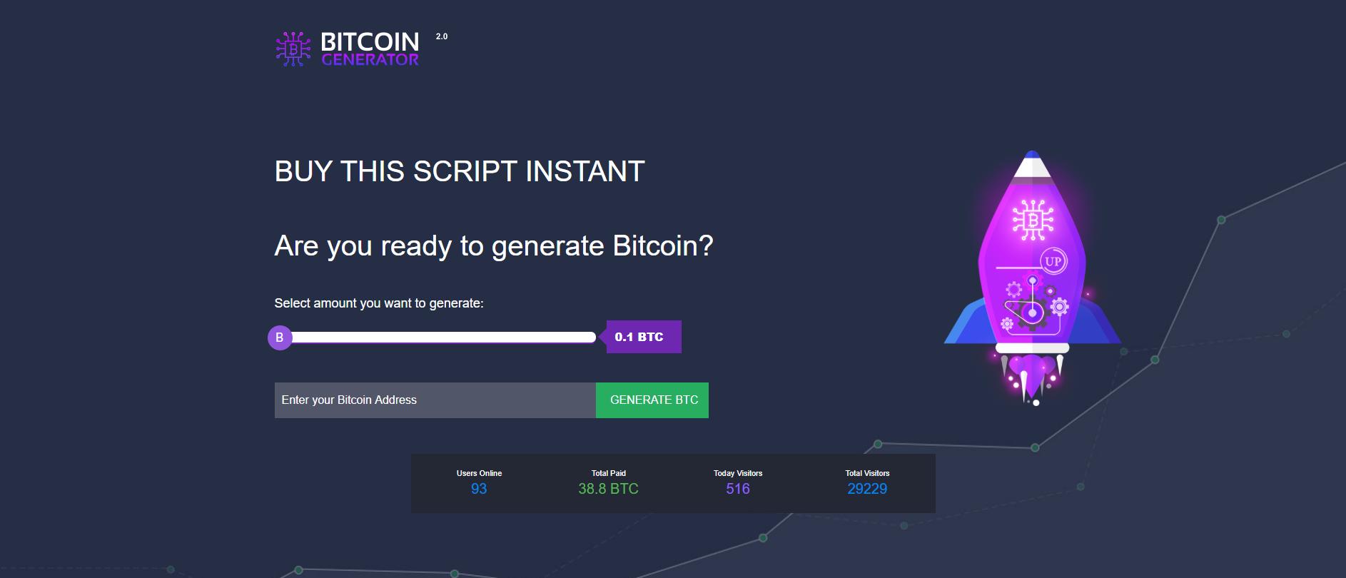 Bitcoin Generator PHP Script No Admin Cp One Page