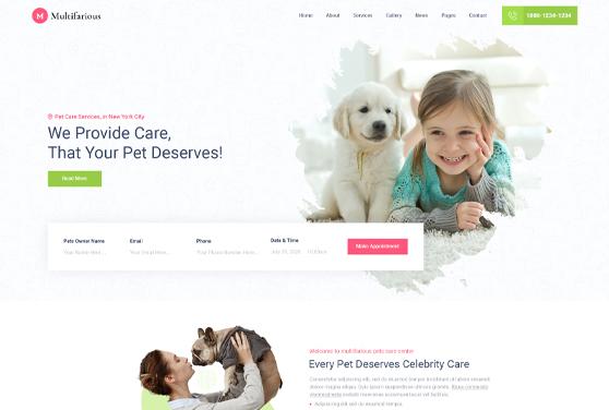 Pets Care Web Deisgn PSD Template
