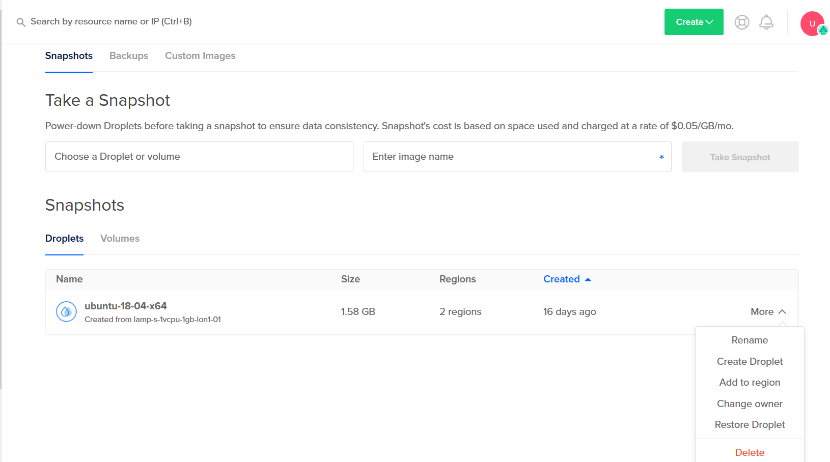 Digitalocean.com droplets manager create get and delete
