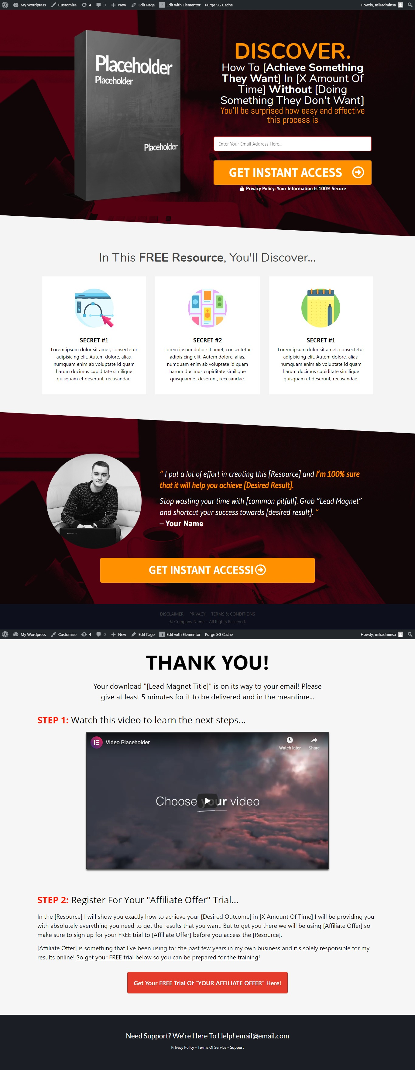 Convert funnel from unbounce, leadpages, convertri, builderall or instapages to wordpress