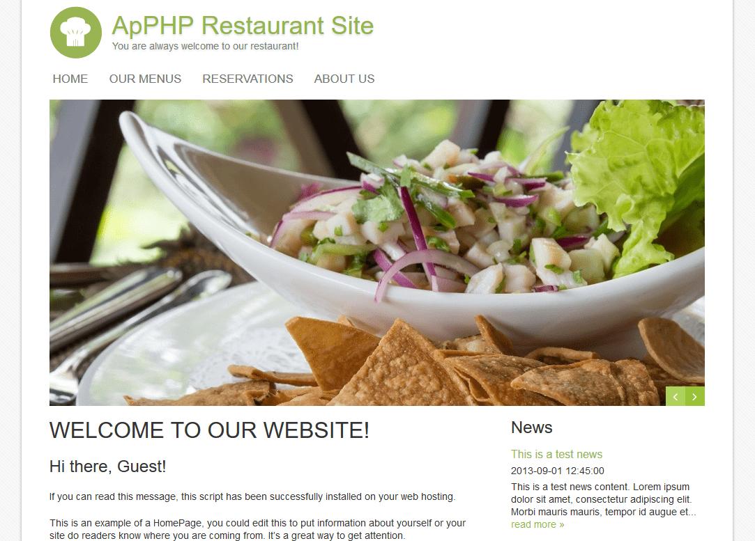 PHP Restaurant Menu Online Site
