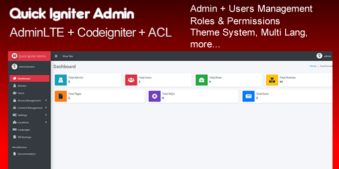 Quick Igniter Admin &ndash CodeIgniter Admin Panel
