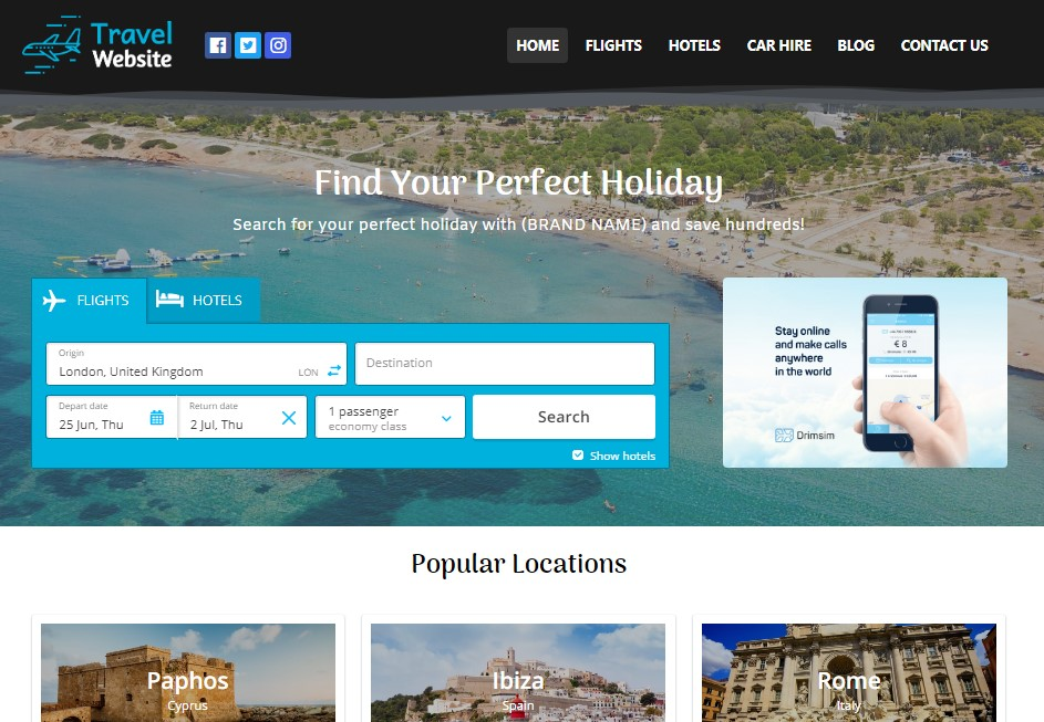 Your Own Travel Comparison Website - Setup,  Domain Name & First Month of Hosting Included