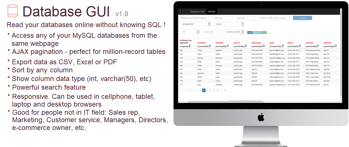 Database GUI website - query your database and get result on a webpage