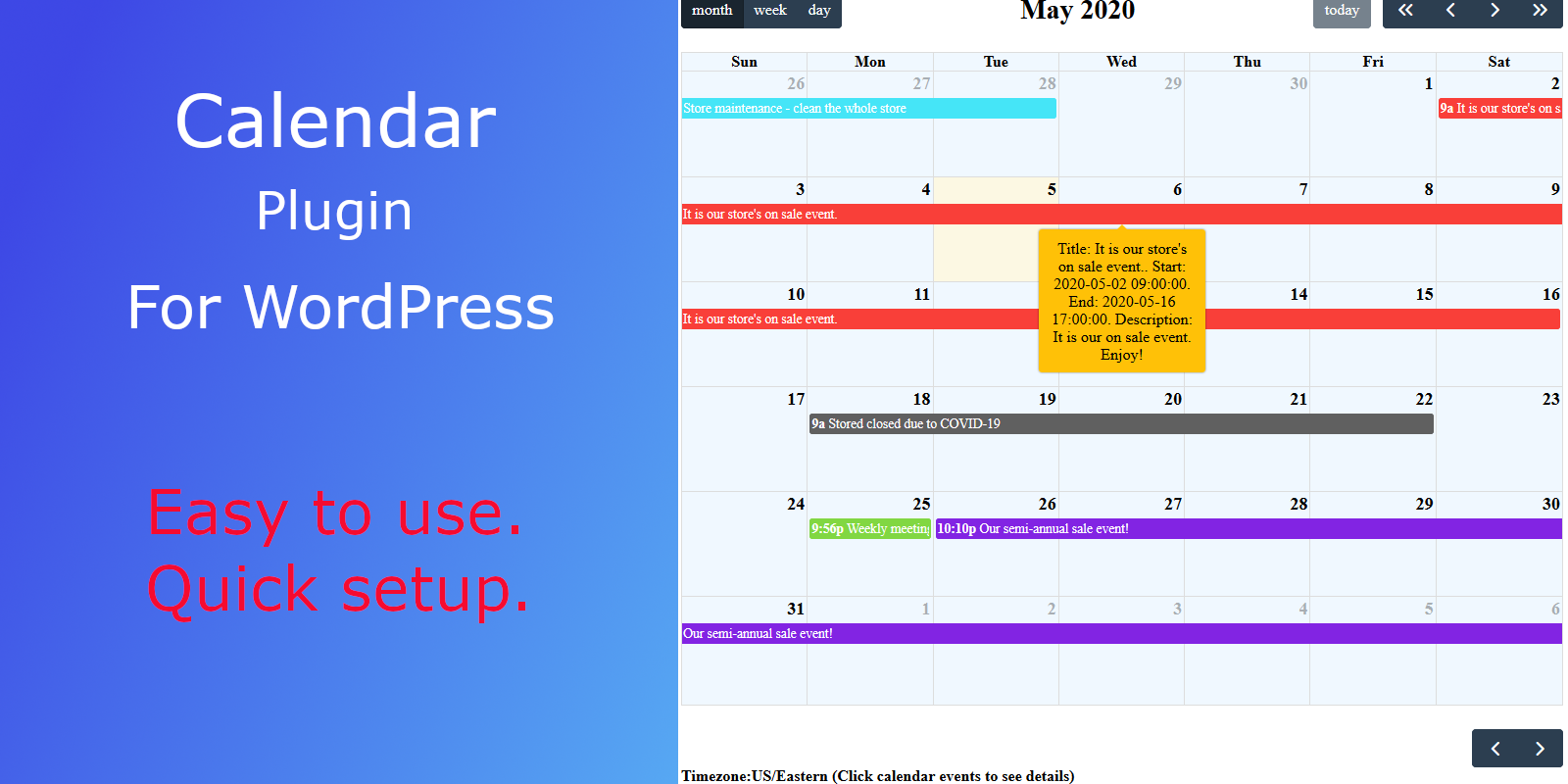 Calendar plugin for WordPress websites