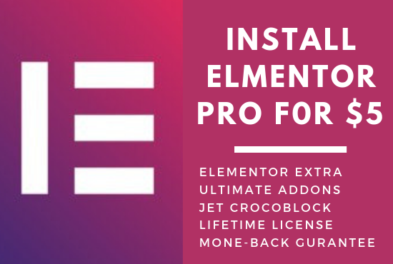 Install Elementor Pro with addons lifetime updatable