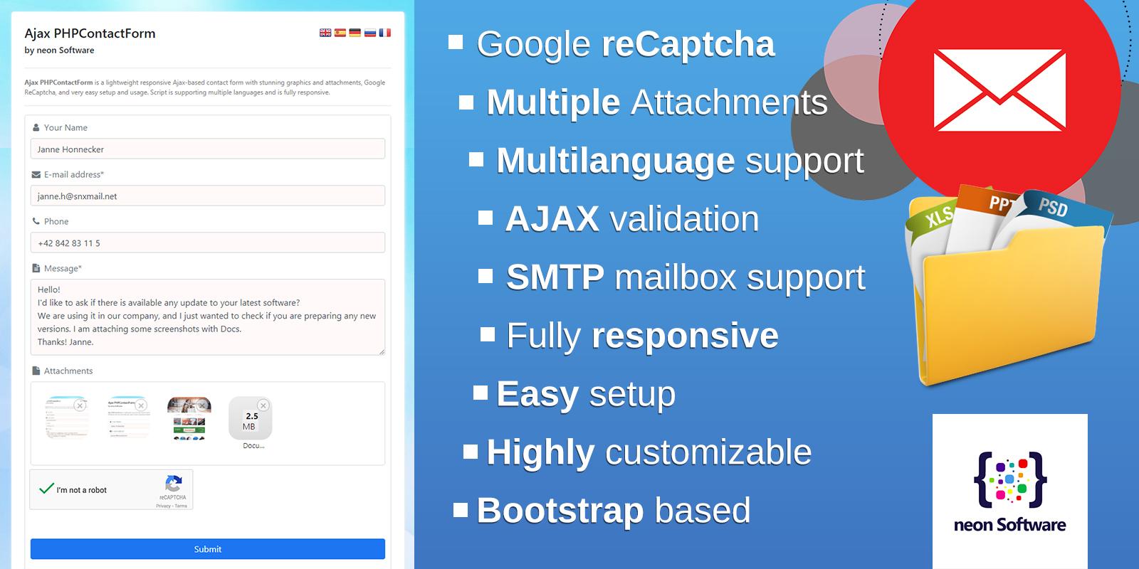 Ajax PHPContactForm - reponsive Ajax Contact Form with attachments