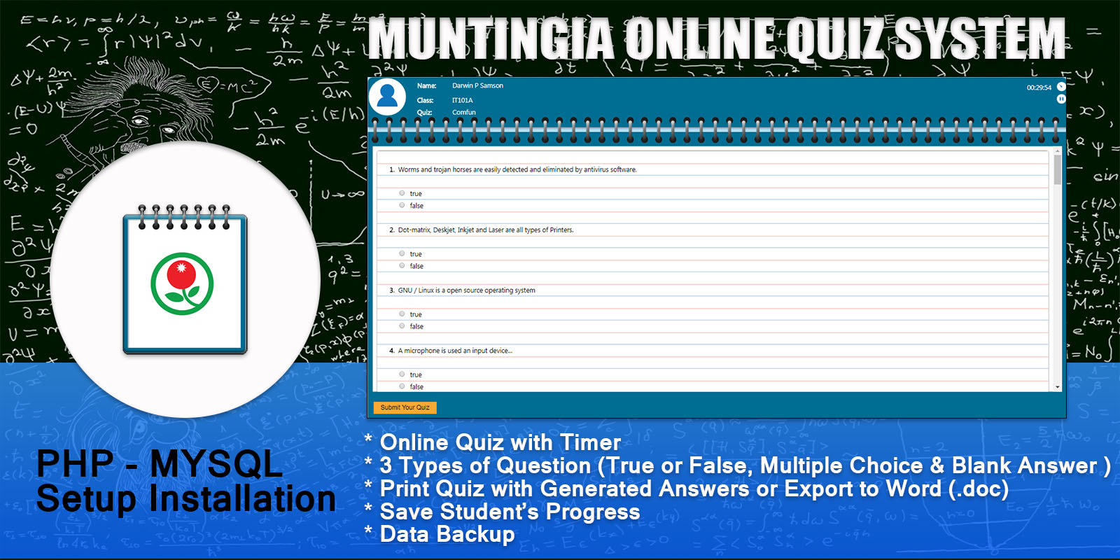 Muntingia PHP Online Quiz With Timer