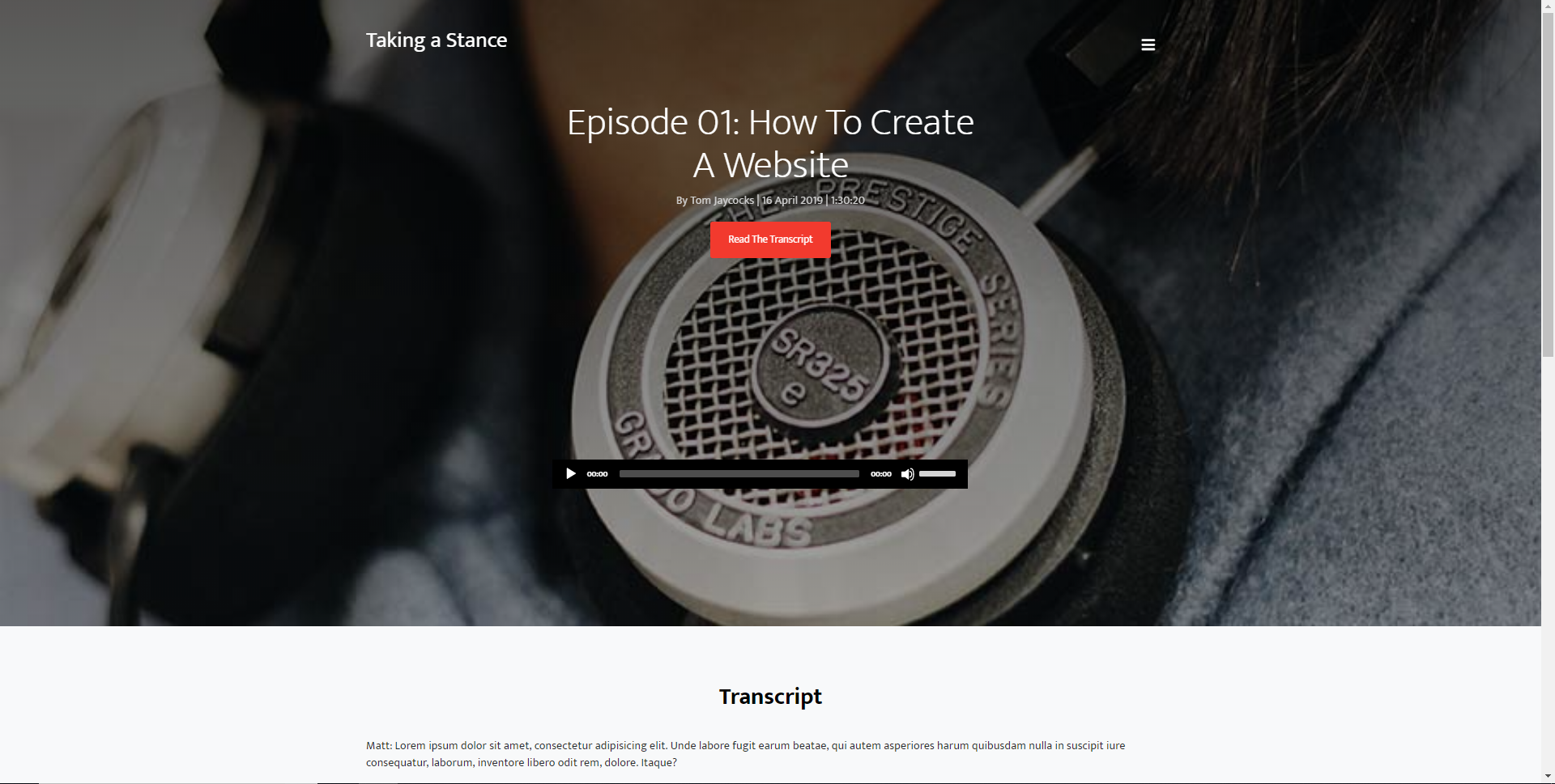 Simple Podcast Website Template | Home & Internal Pages | HTML & CSS