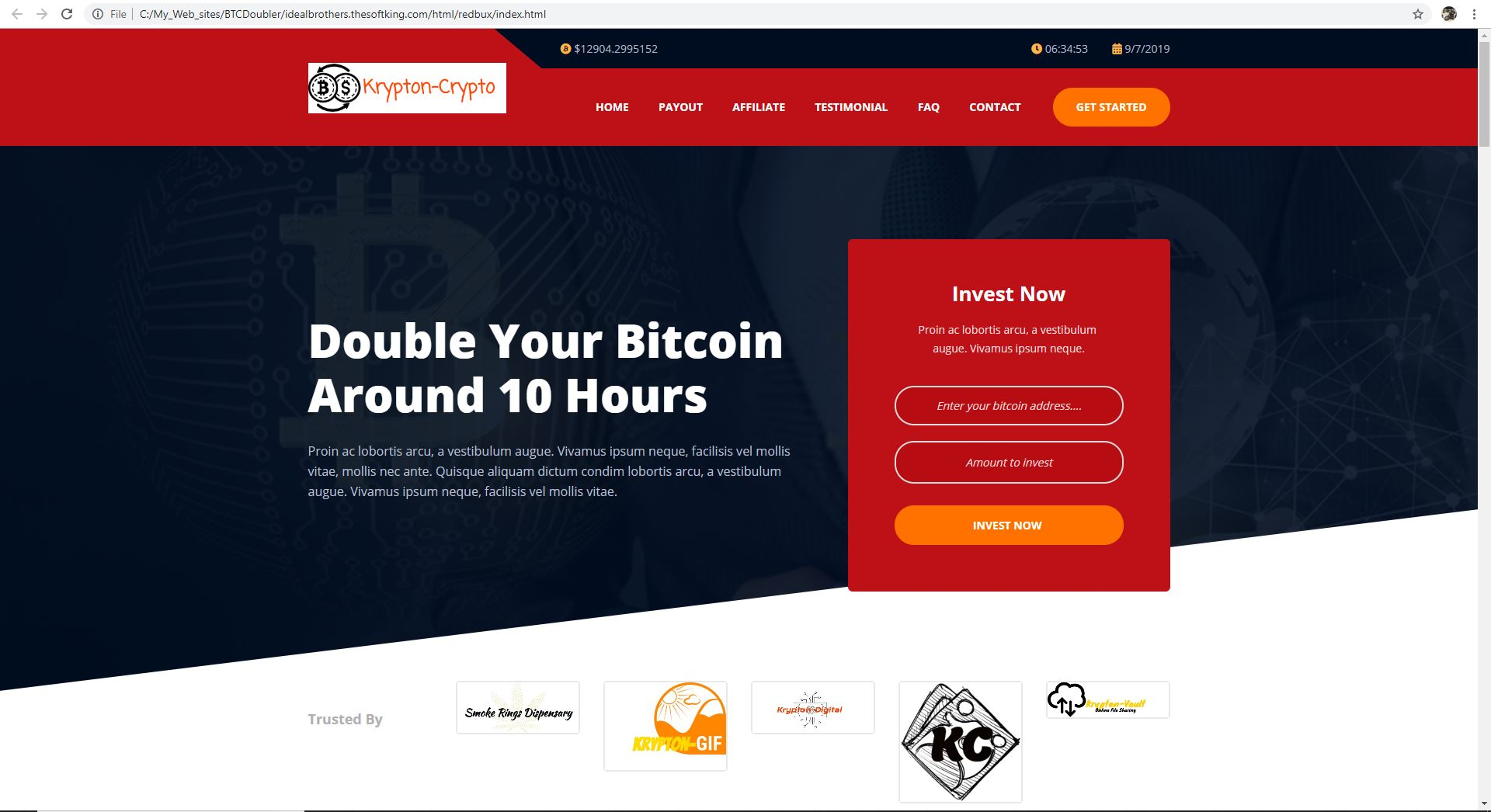 Bitcoin Doubler HTML Site for HYIP