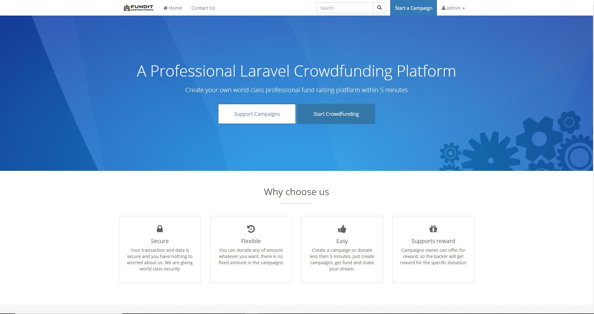 FundIt Crowdfunding Platform Script