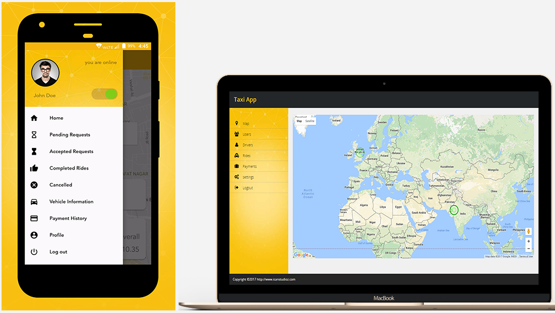 Android/IOS Online Taxi App wiht admin panel and documents