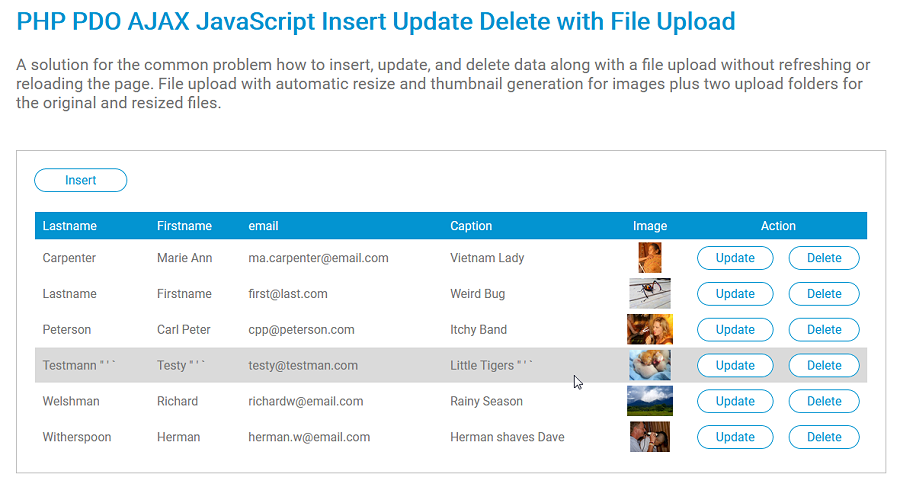 PHP PDO AJAX JavaScript Insert Update Delete with File Upload