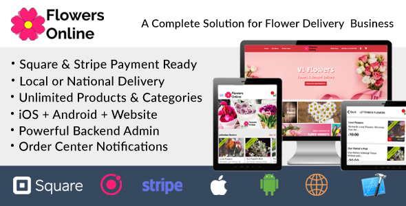 Online Flowers Selling Florists Floristry Bouquet Ordering System iOs Android Owner App Web & Admin