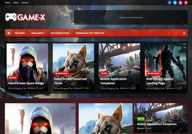 Game X - Premium Blogger Template