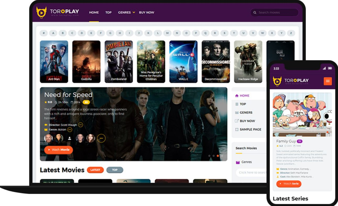 Elegant Movie & Series Wordpress Theme with TMDB Movie Grabber