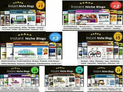 Complete Instant Niche PLR Wordpress Blogs Package Vol 1 to 7 (70 Turnkey Blogs)