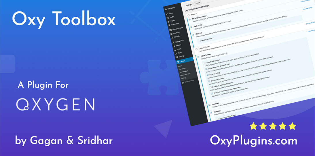 Install Oxy Toolbox Plugin for Oxygen Builder with Official License Lifetime