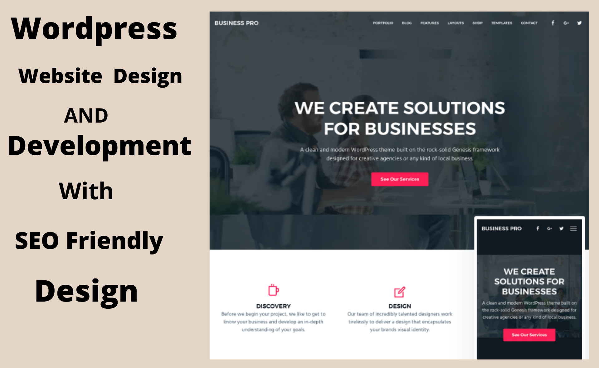 build Seo friendly responsive wordpress website design and wordpress development