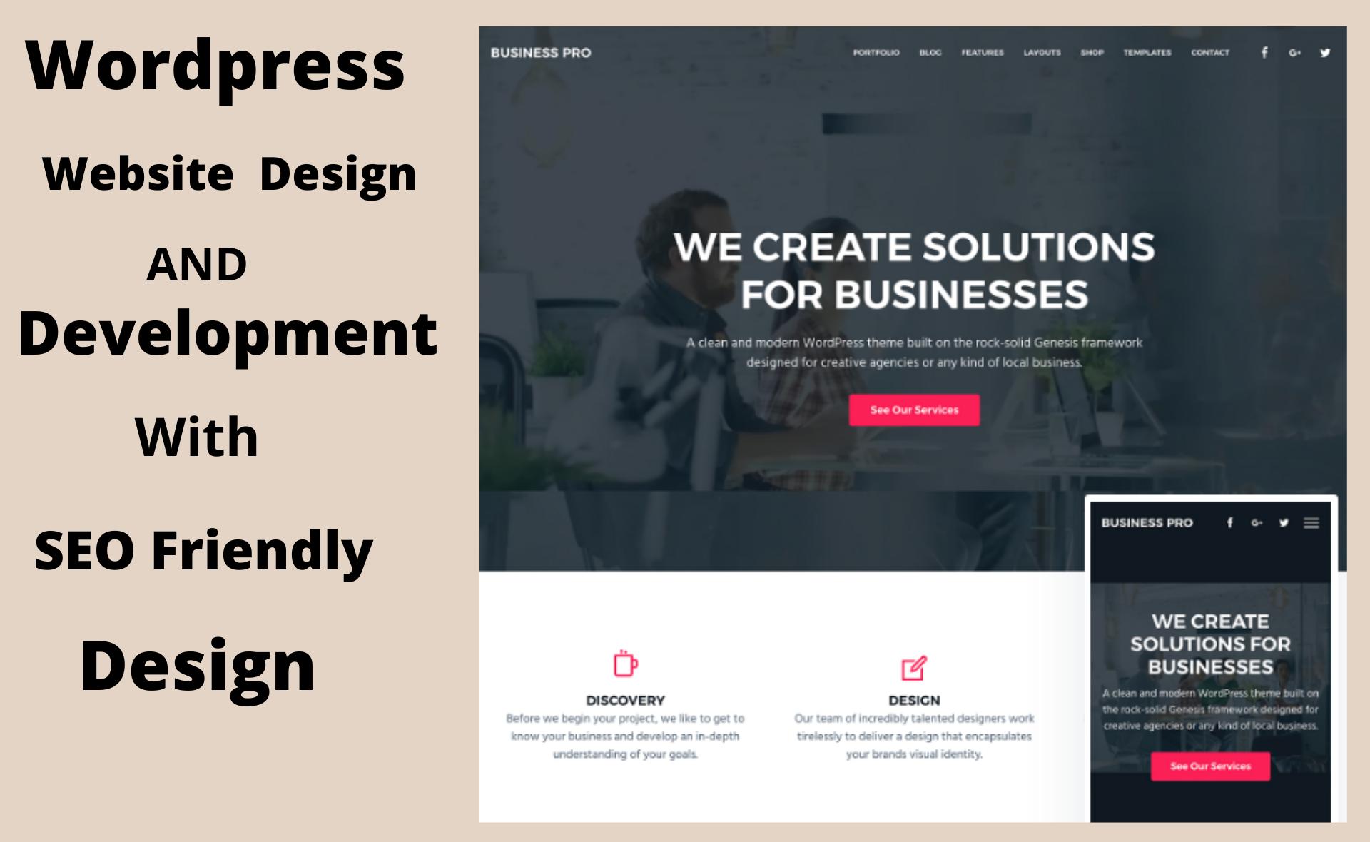 build Seo friendly responsive wordpress website design and wordpress development