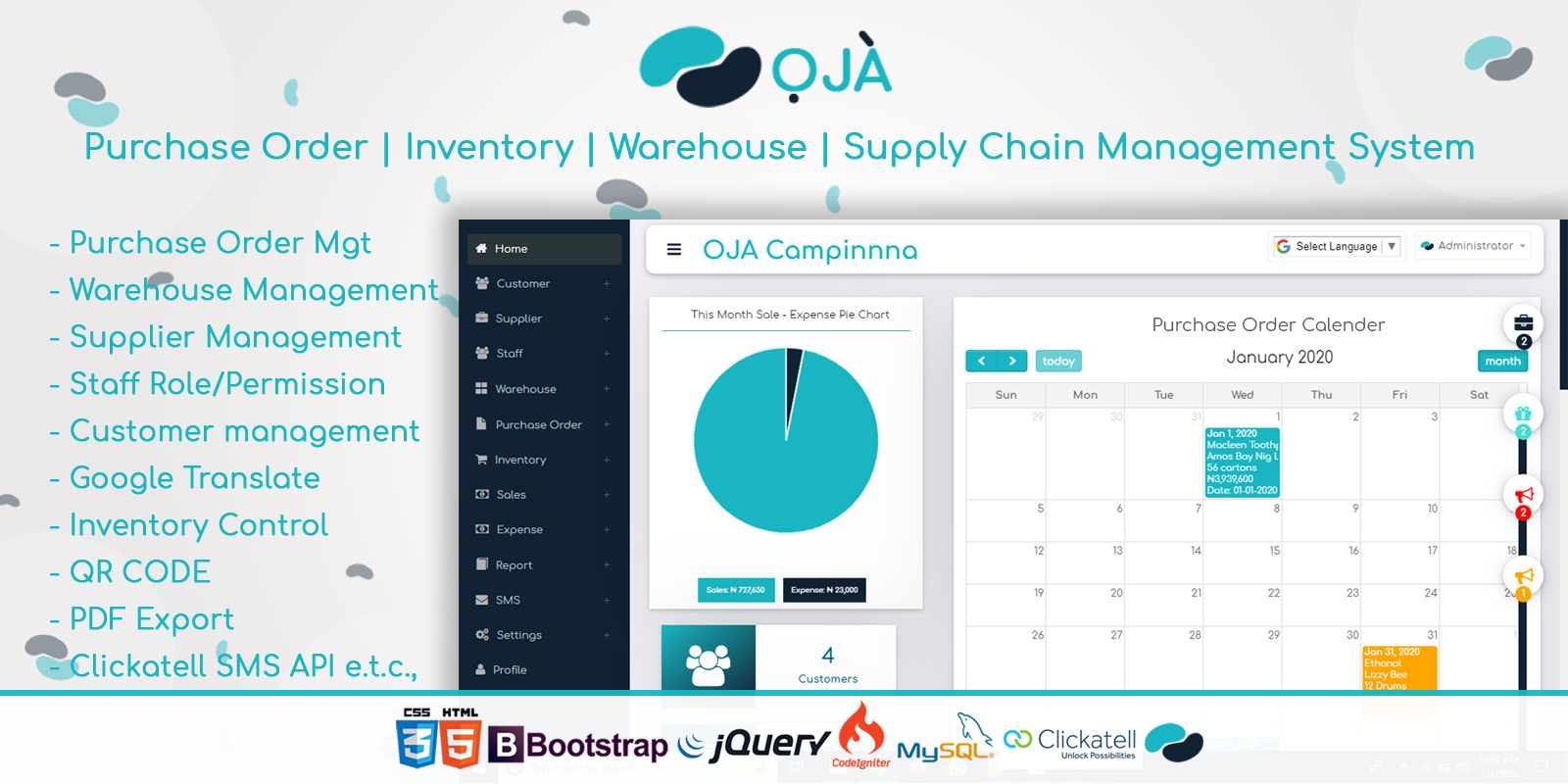 create a purchase order and inventory system