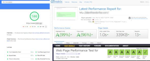 Load Sites in less than 2sec. Pagespeedinsights,  GTMetrix