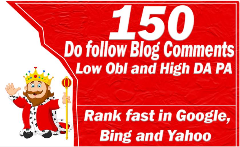 150 Unique Domains Blog Comment Dofollow Backlinks HIGH DA PA TF CF High Actual Page