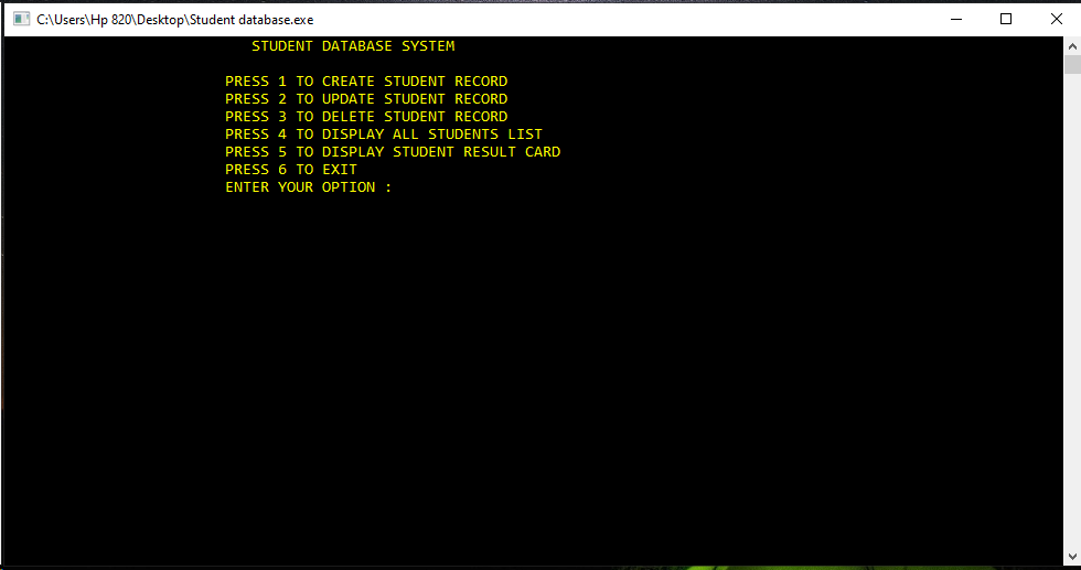 Student Database Management Project in C++ for 1st and 2nd semesters Students