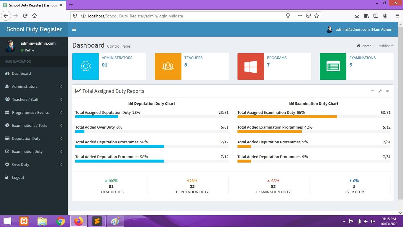 School Duty Register Software PHP CodeIgniter
