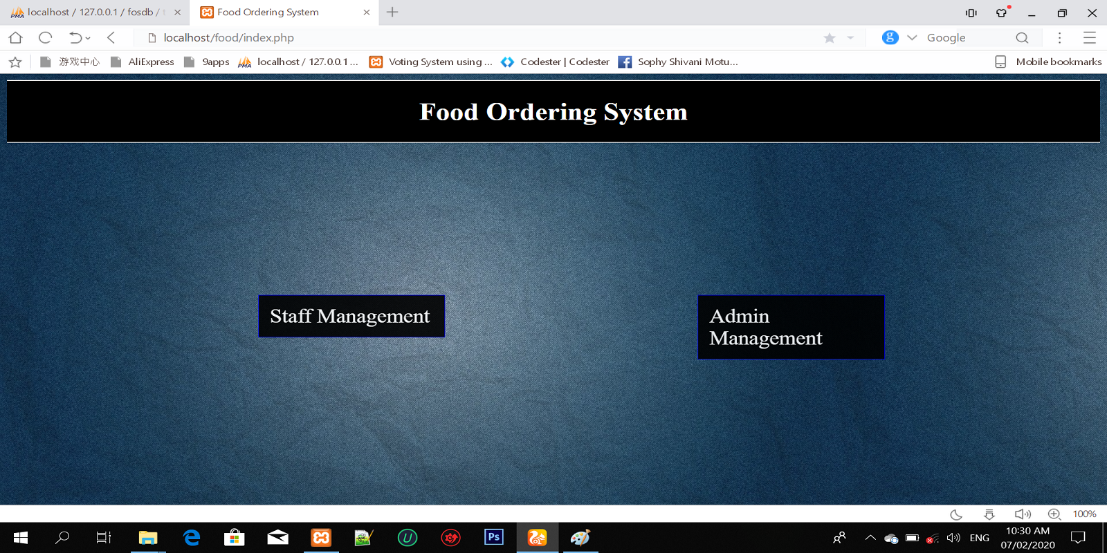 Food ordering system in PHP language