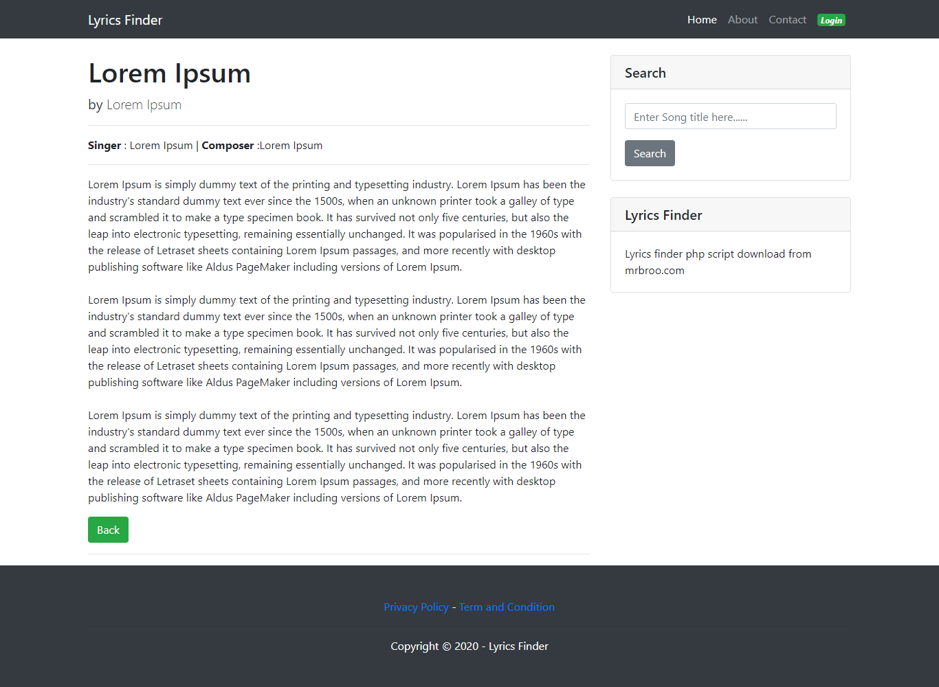Lyrics finder is built with PHP. It's a song lyrics website with admin panel.