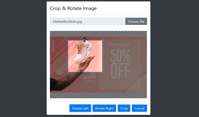 Crop and Rotate image php codeigniter