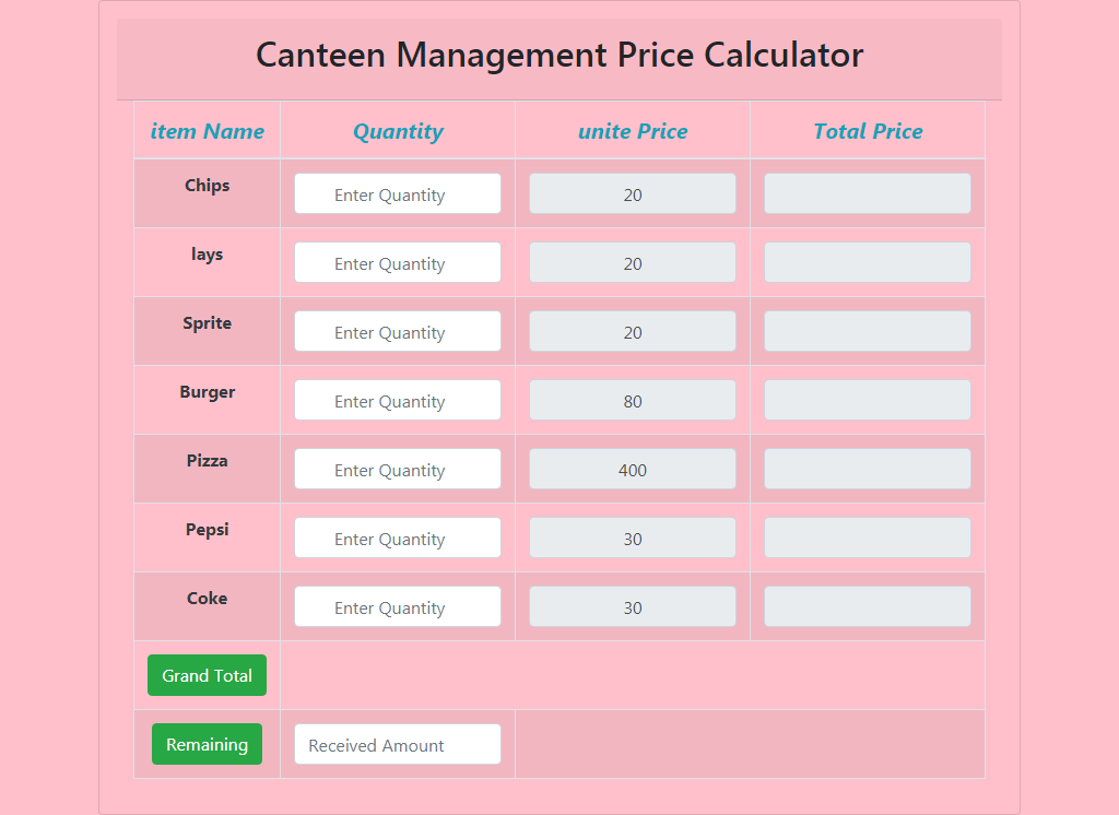 canteen management price controller