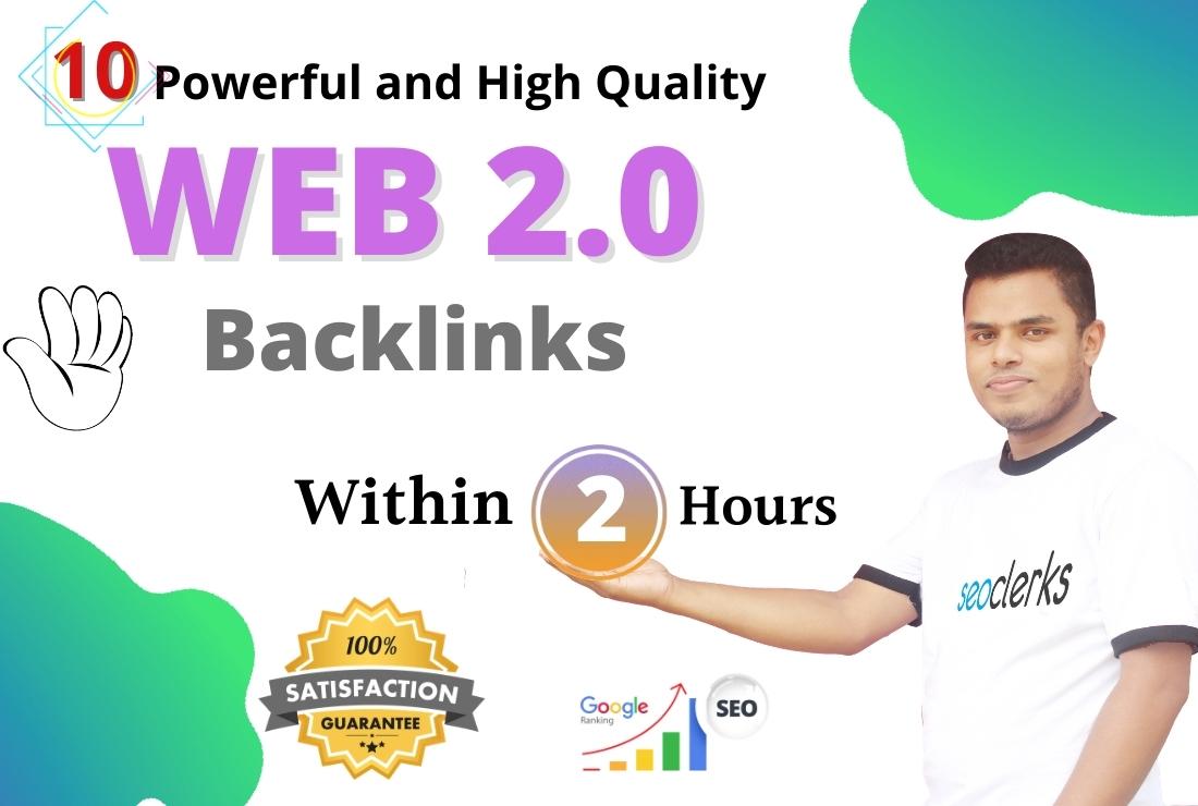 I will Build 10 High Authority Do Follow WEB 2.0 Backlinks for SEO service