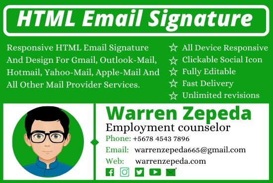 I will create a professional responsive clickable email signature