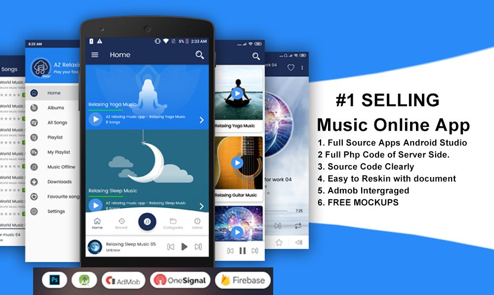 Music Player Online Source Code Android App with Admob