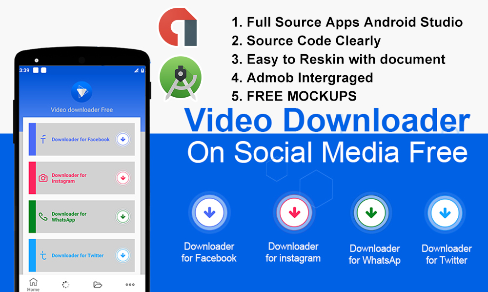 instagram video downloader source app android with admob