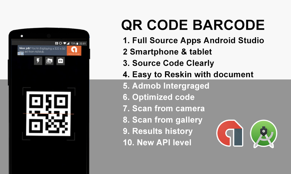 QRCode and BarCode Android App Source Code with admob
