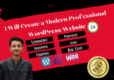 I Will Create Modern,  Professional WordPress Website within 24 Hours