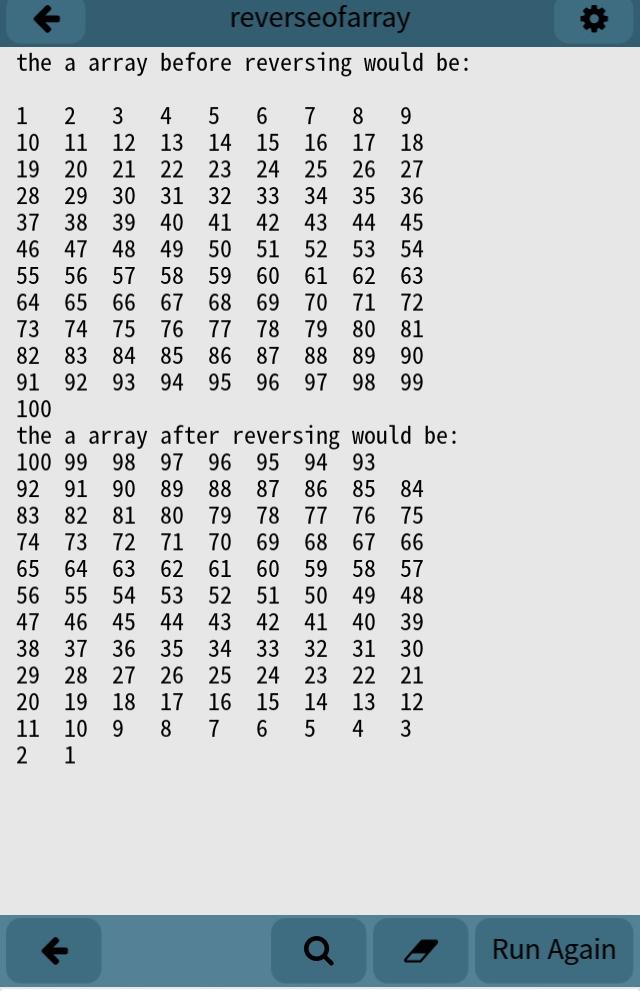 A Simple reversing array program