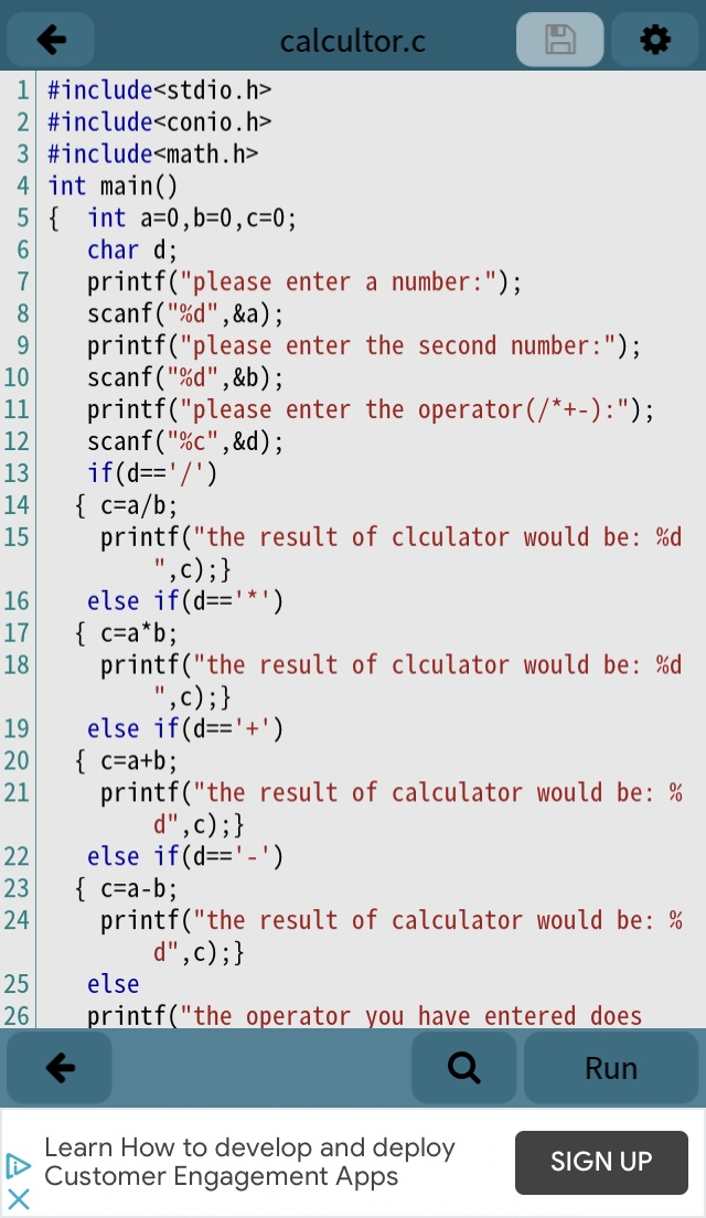 A simple calculator for two integer numbers