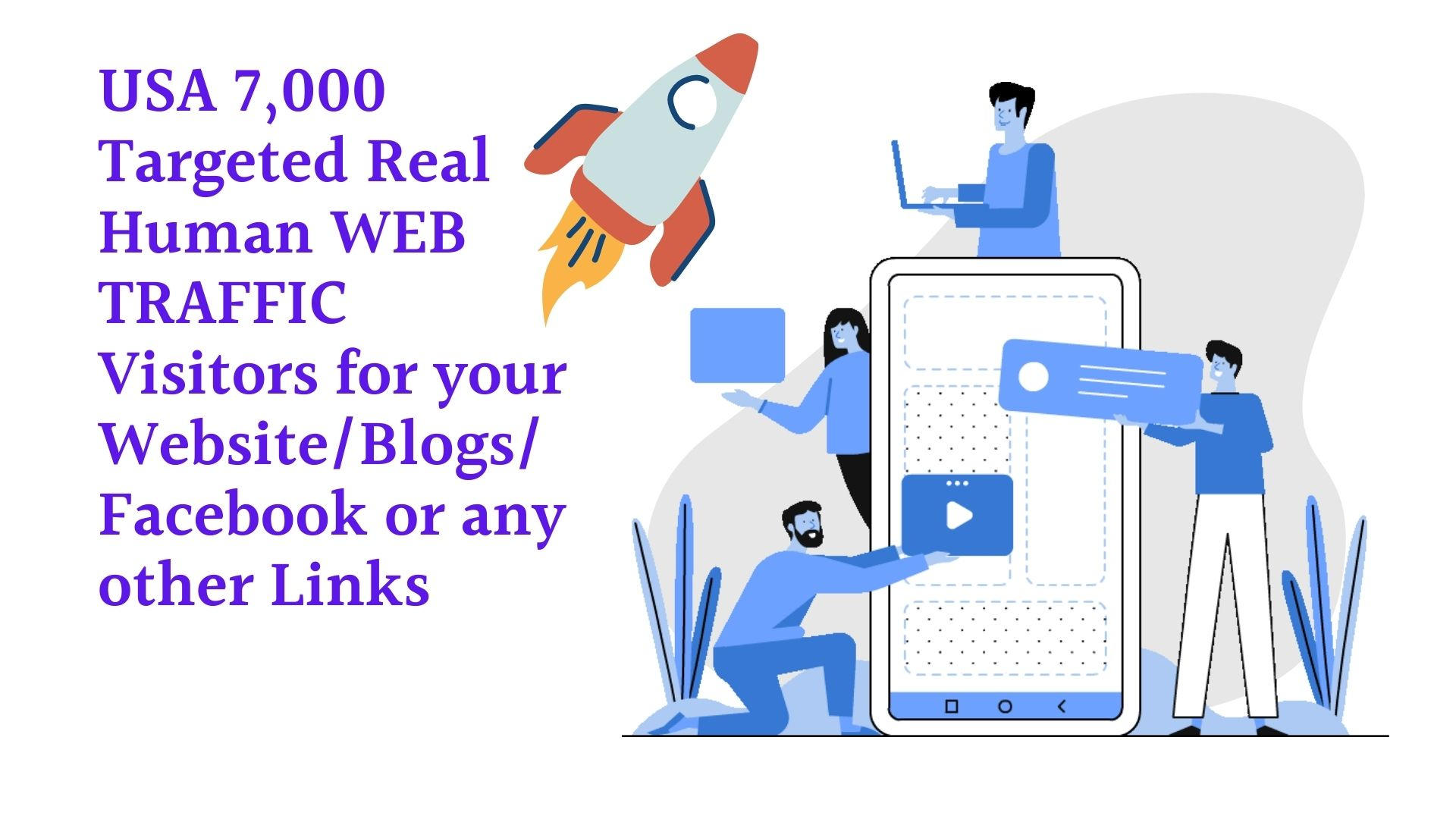USA 7,000 Targeted Real Human WEB TRAFFIC Visitors for your Website/Blogs/Facebook or any other Link