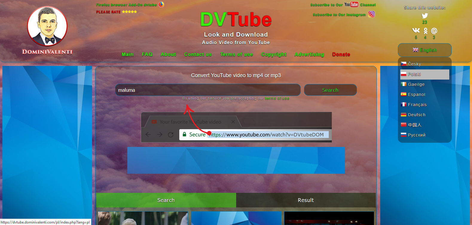 DVTube - full multi languages website for download video and audio from YouTube