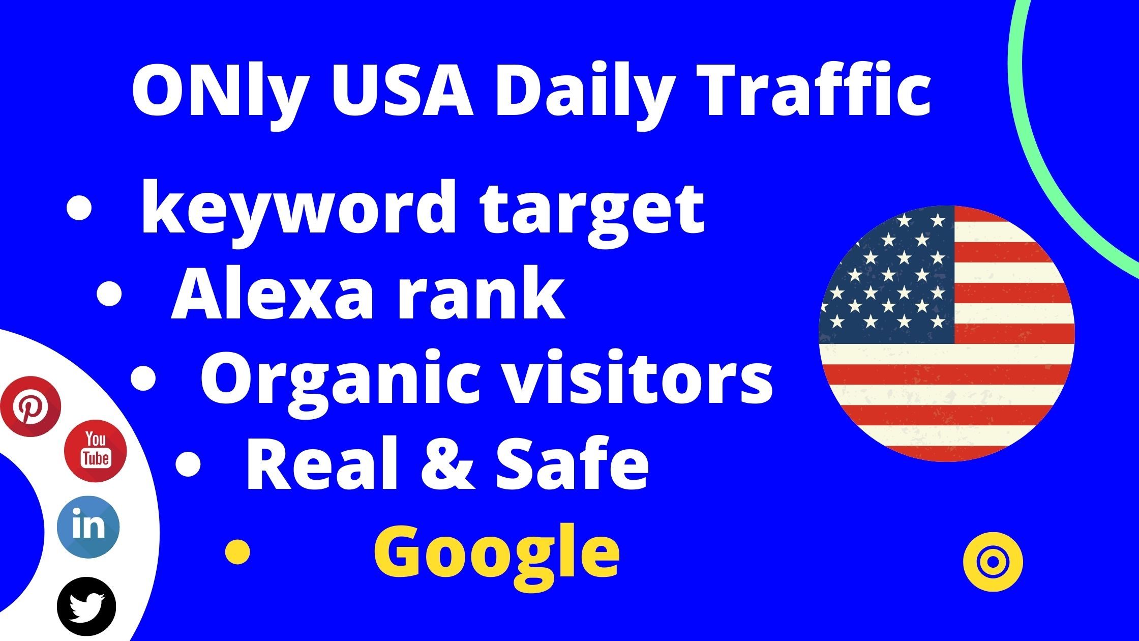Drive keyword target daily traffic only USA for your website