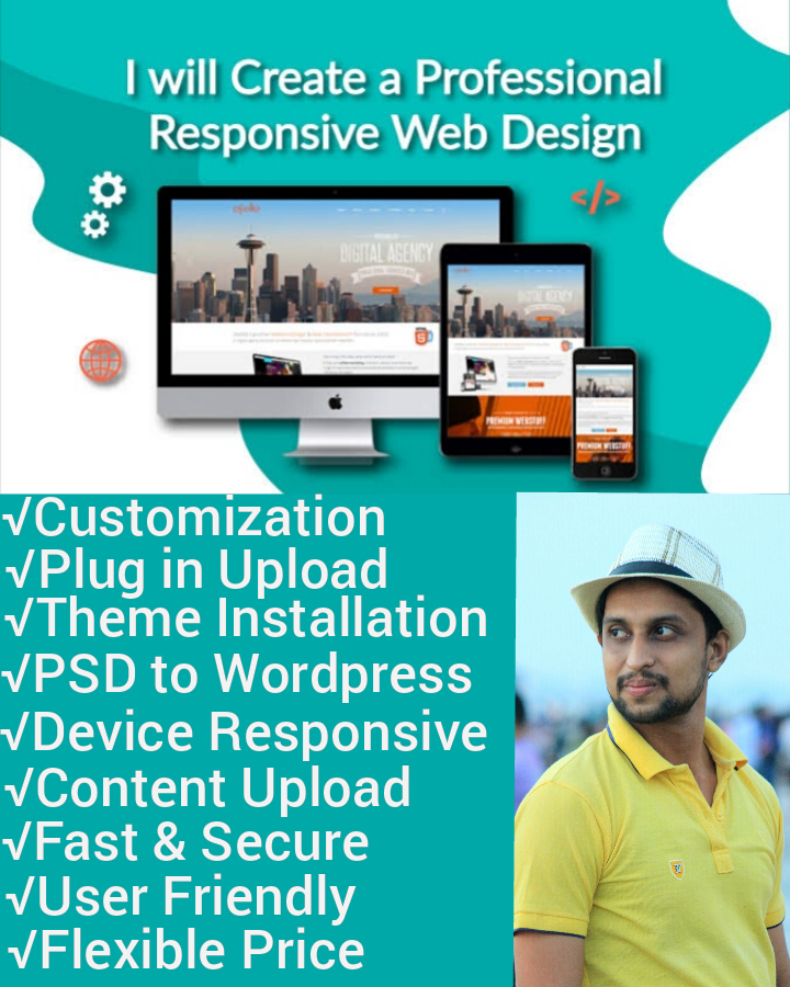 I will create, design and redesign modern responsive wordpress blogsite and fix it