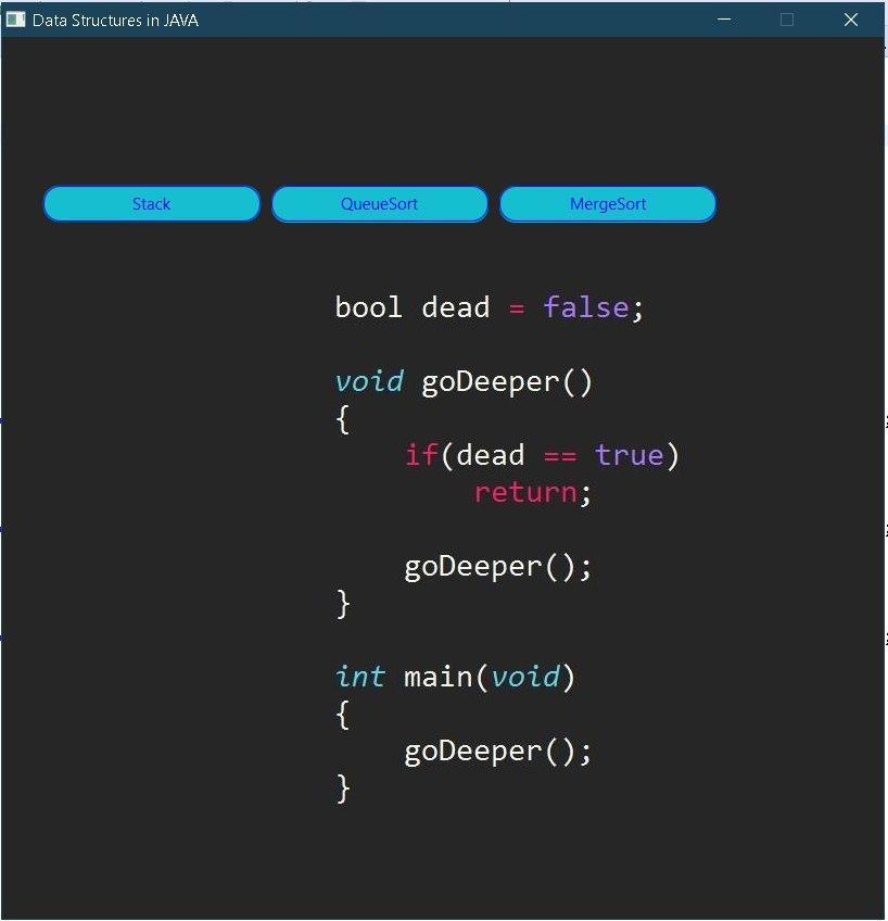 Simple JavaFx Program Using 3 Data Structures