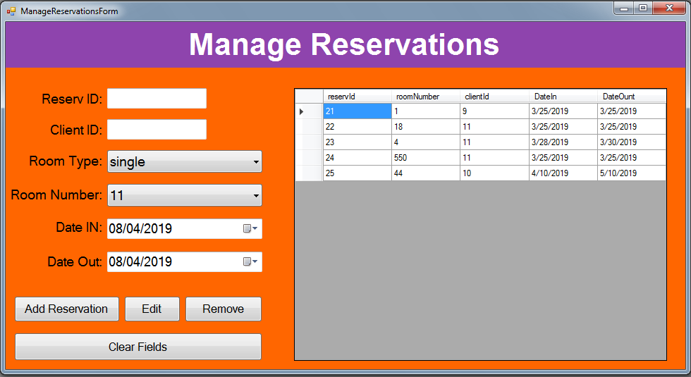 I will do hotel system application using C sharp and visualstudio.