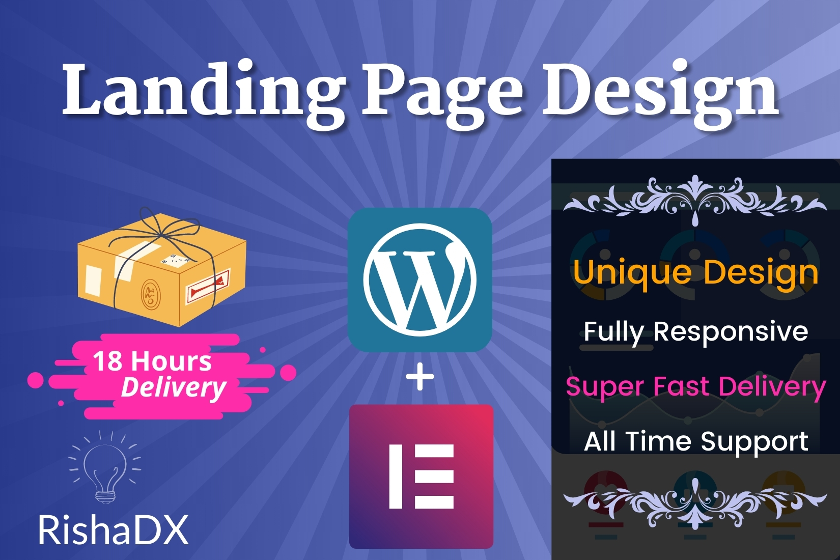 I will develop amazing wordpress landing page square page or sales page using elementor