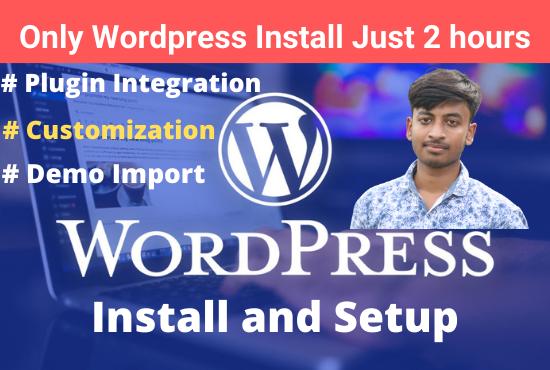 I will install wordpress with customization and theme setup