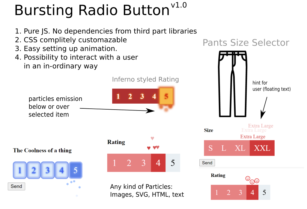Bursting animated radio button